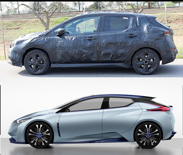 2018 nissan ev. modren nissan these all new pictures of a camouflaged 2018 nissan leaf show us how far  the production model will be from ids concept 2015 and nissan ev