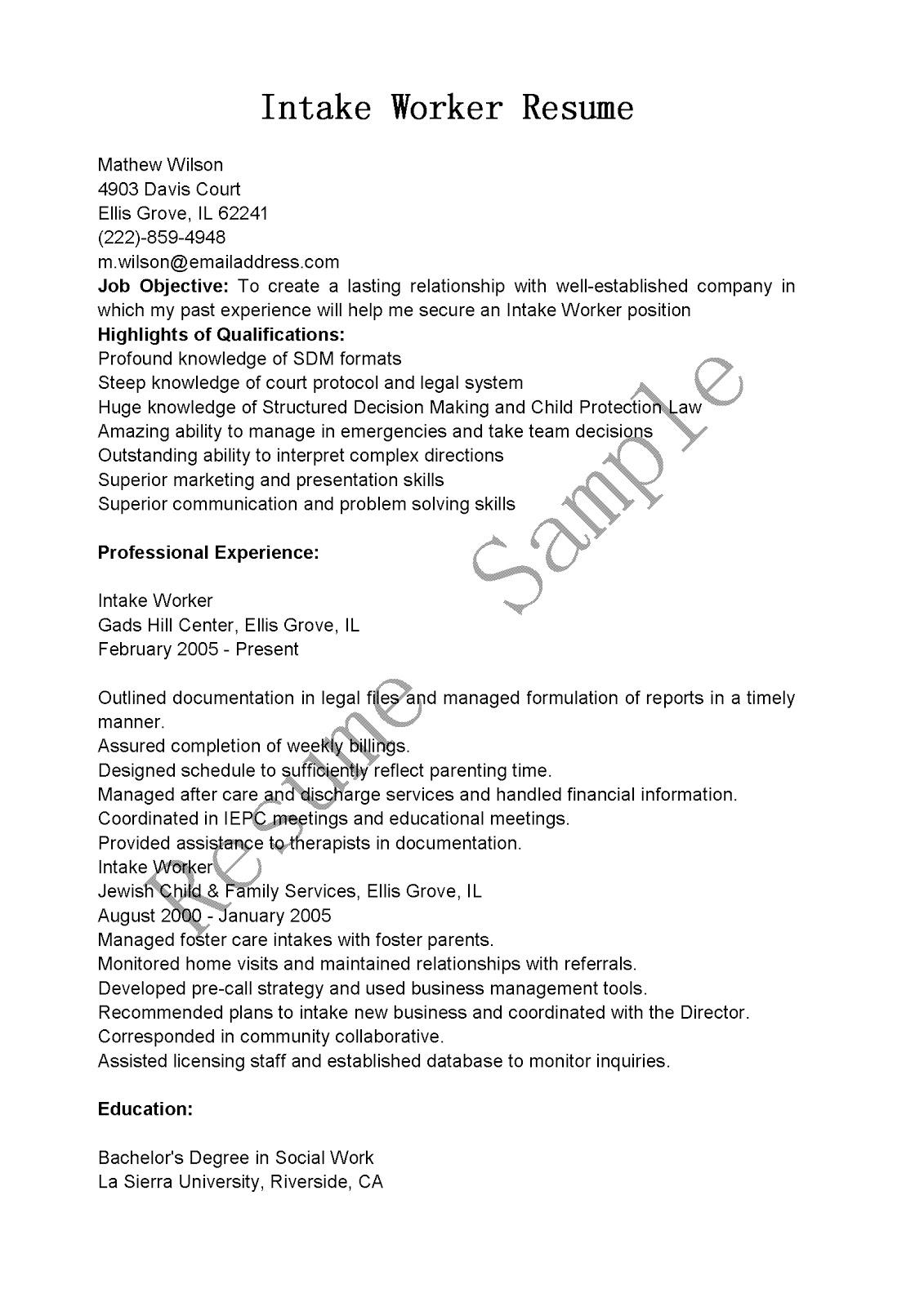 resume samples  intake worker resume sample