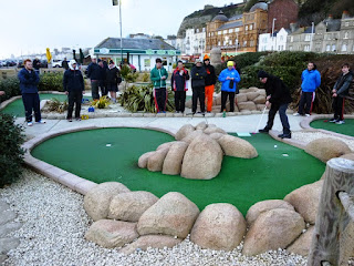 Midlands Minigolf Club player 'Squire' Richard Gottfried playing a shot in the 2015 edition of the British Club Championships in Hastings