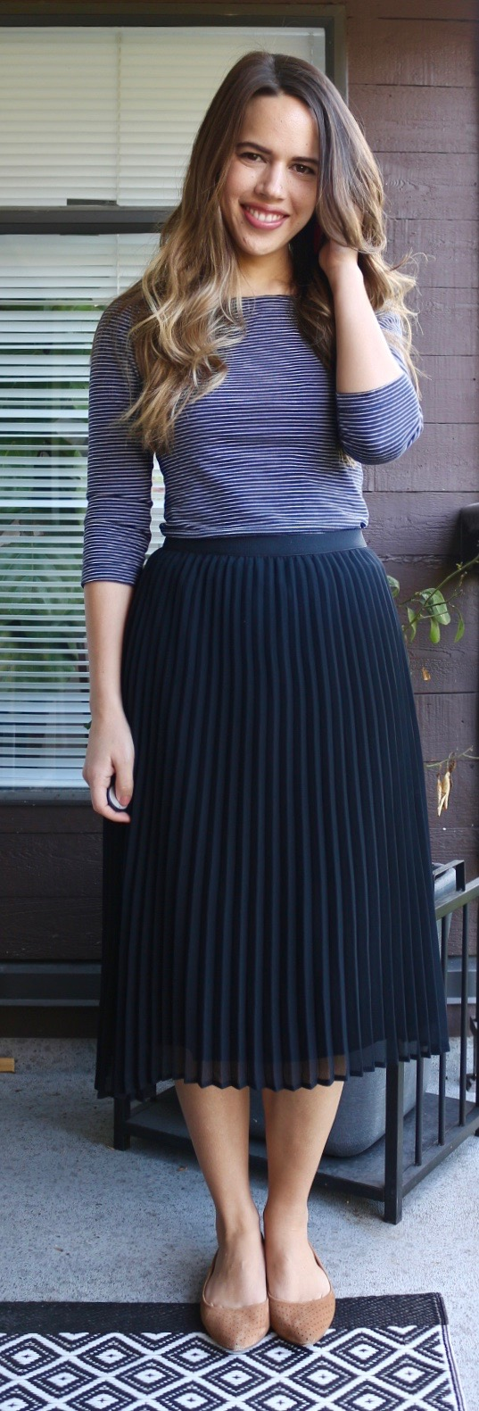 Jules in Flats - Dynamite Black Pleated Midi Skirt with Striped Boatneck Tee