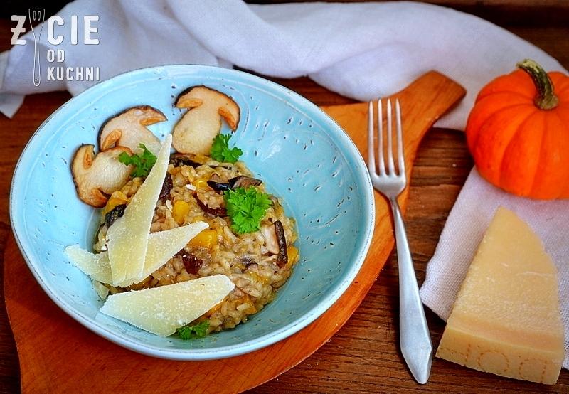 risotto, risotto z grzybami, danie z ryżu, ryzu, ryz arborio, danie z grzybami leśnymi, parmezan, dynia, danie z dynia, zycie od kuchni