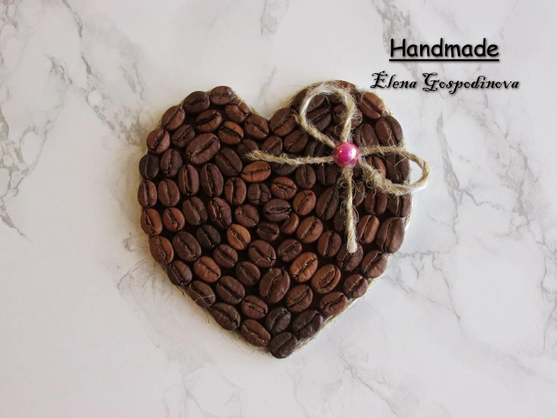 кофейный магнит, магнит-сердечко, кофе, ручная работа, магнит своими руками