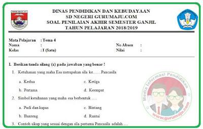 Soal UAS / PAS Kelas 1 Tema 4 Kurikulum 2013 Revisi 2018