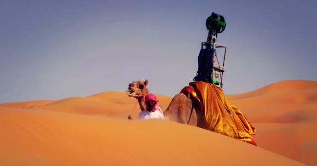تصوير الصحراء باستخدام الابل