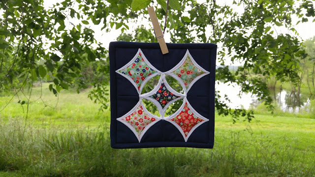 Bonnie and Camille Vintage Picnic cathedral window mini quilt