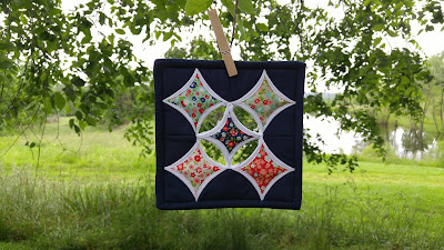 Cathedral Window mini mini quilt