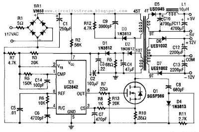 5v And 12V Ac Powered Switching Supply Circuit Diagram