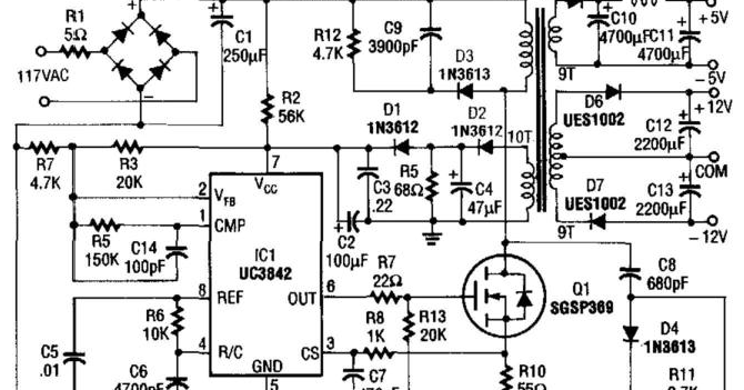 Schematic: Build a 5v And 12V Ac Powered Switching Supply