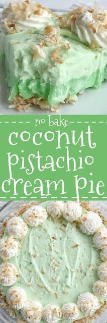 {No Bake} Coconut Pistachio Cream Pie