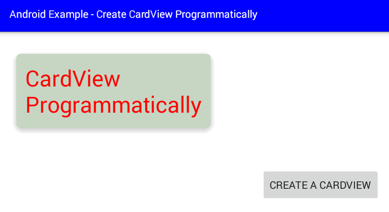 android - How to create a CardView programmatically