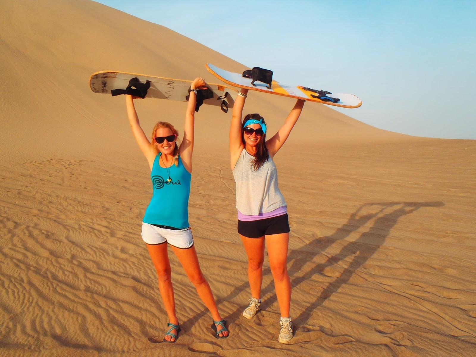 Simone and Nina in Peru Sandboarding
