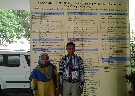 With My Wife Dr. Rabeya Yousuf at SEARAME-NCHPE-2012, India
