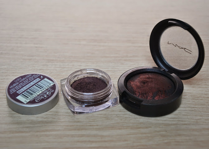 Comparison: L'Oreal Burning Black vs. MAC Smoked Ruby