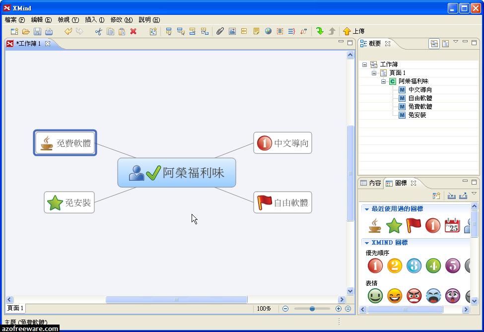 XMind 3.5.2 免安裝中文版 - 取代FreeMind的心智圖軟體 - 免費軟體下載