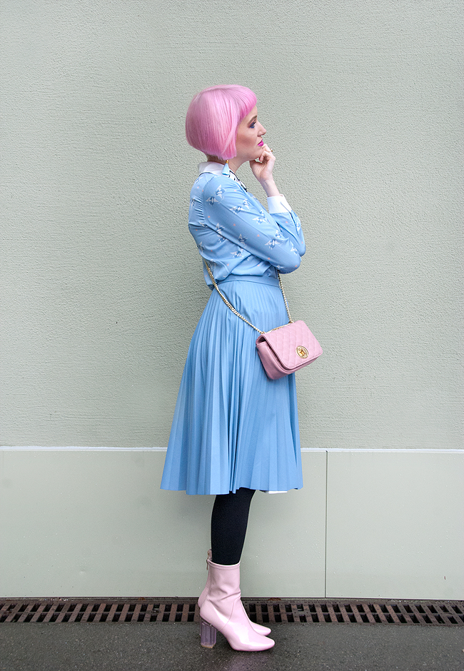 pastel look, winter outfit, blogger
