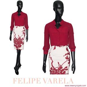 Queen Letizia wore Felipe Varela blouse and floral skirt