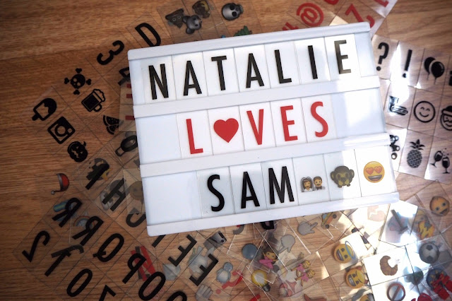 Letter Light Box with letters behind it