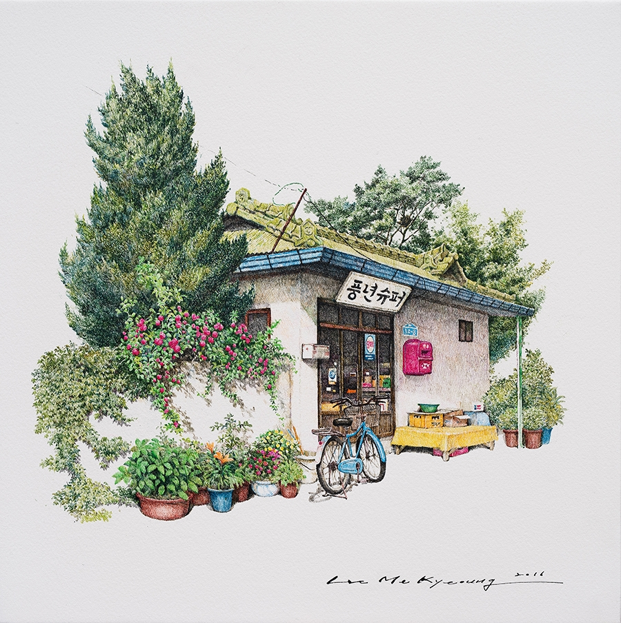 09-Pyeoungnyun-supera-Me-Kyeoung-Leehas-Pencil-Drawings-of-Convenience-Stores-in-South-Korea-www-designstack-co