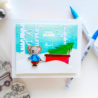 guest designing Ishani, no line colouring with zig markers, make a summer themed stamp, a winter themed, cards by Ishani, Create a smile stamp - cart full of treasure, Christmas card, Zig clean colour brush pens, Quillish, Cards by Ishani