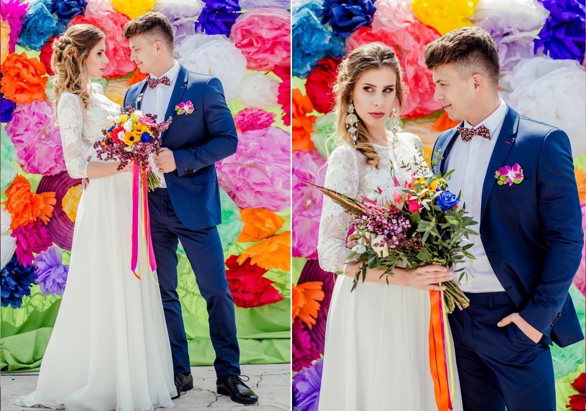 Kolorowy backdrop na ślubie.