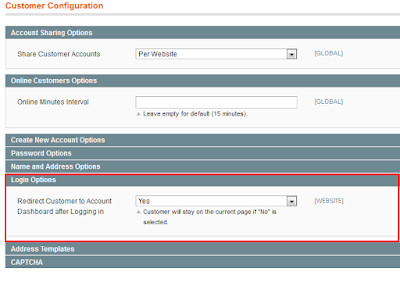Magento customer configuration
