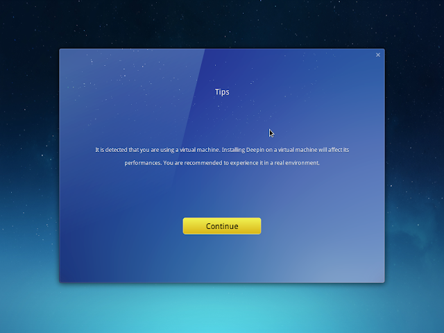 deepin installer detects it is running inside virtual machine