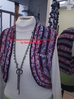 37238570fd Fada do Crochet  COLETE JACKARD - LÃ CISNE
