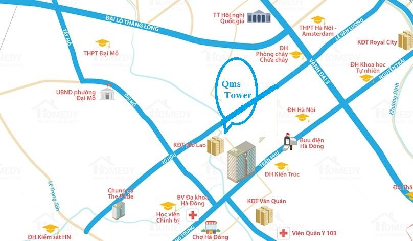 vị trí chung cư qms tower tố hữu