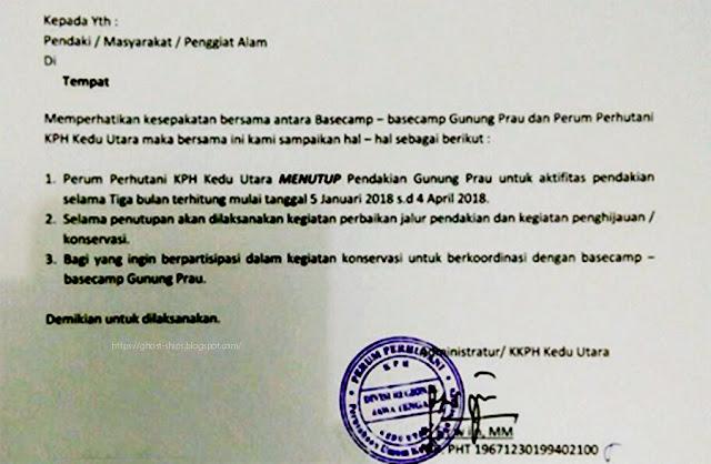 Surat edaran Adm/KKPH Kedu Utara terkait penutupan jalur pendakian Gunung Prau. Sumber : Gatra.