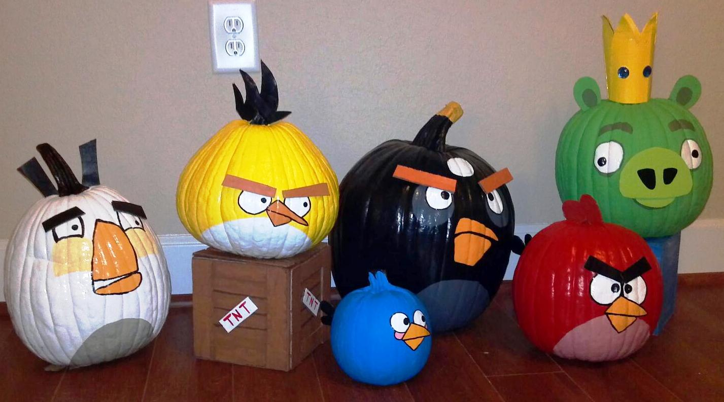 Red Angry Bird Painted Pumpkin