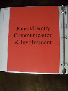 parent & family communication and involvement tab - this shows that I keep everything informed