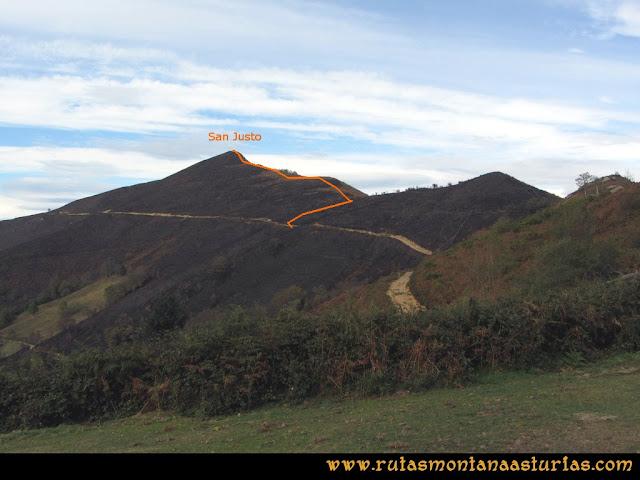 Ruta al San Justo o Cogollu: El pico San Justo desde la Campa Urbiés