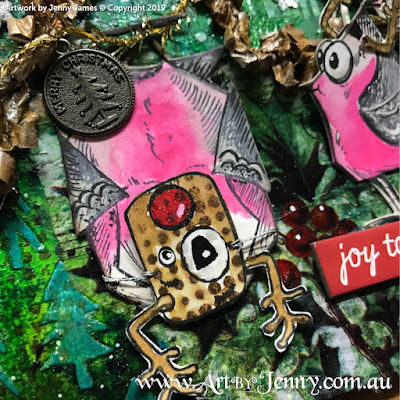 Finished Artwork of the Australian Galah dressed as Rudolph the Red Nosed Reindeer for Christmas - mixed media art by Jenny James