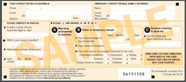 Cara mengisi kartu ledatangan Australia