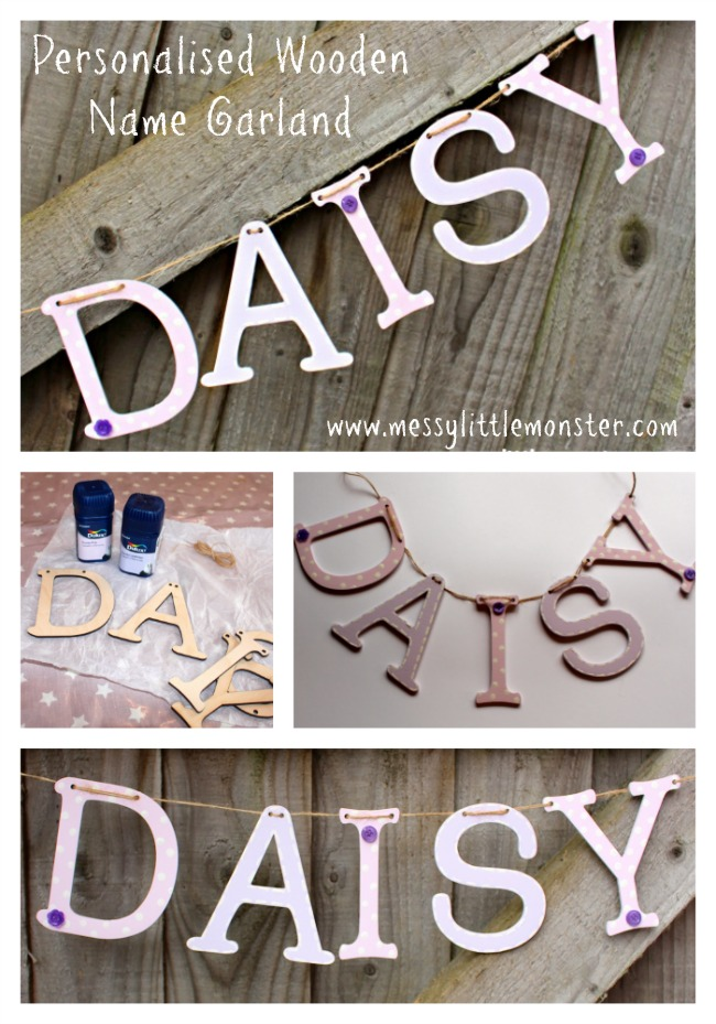 Personalised wooden name garland/ bunting.  Follow the simple instructions to make your own DIY name garland.   Perfect decor for a child's bedroom or nursery,  baby gift idea or keepsake.