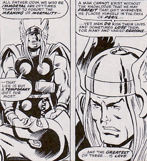 Avengers #130, Thor at the Swordsman's funeral service