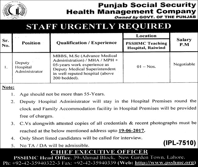 Punjab Social Security Health Management Company Jobs Lahore 6 June 2017