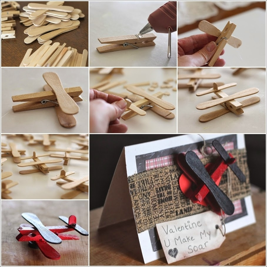 Cute Clothespin and Popsicle Stick Airplane Party Favors