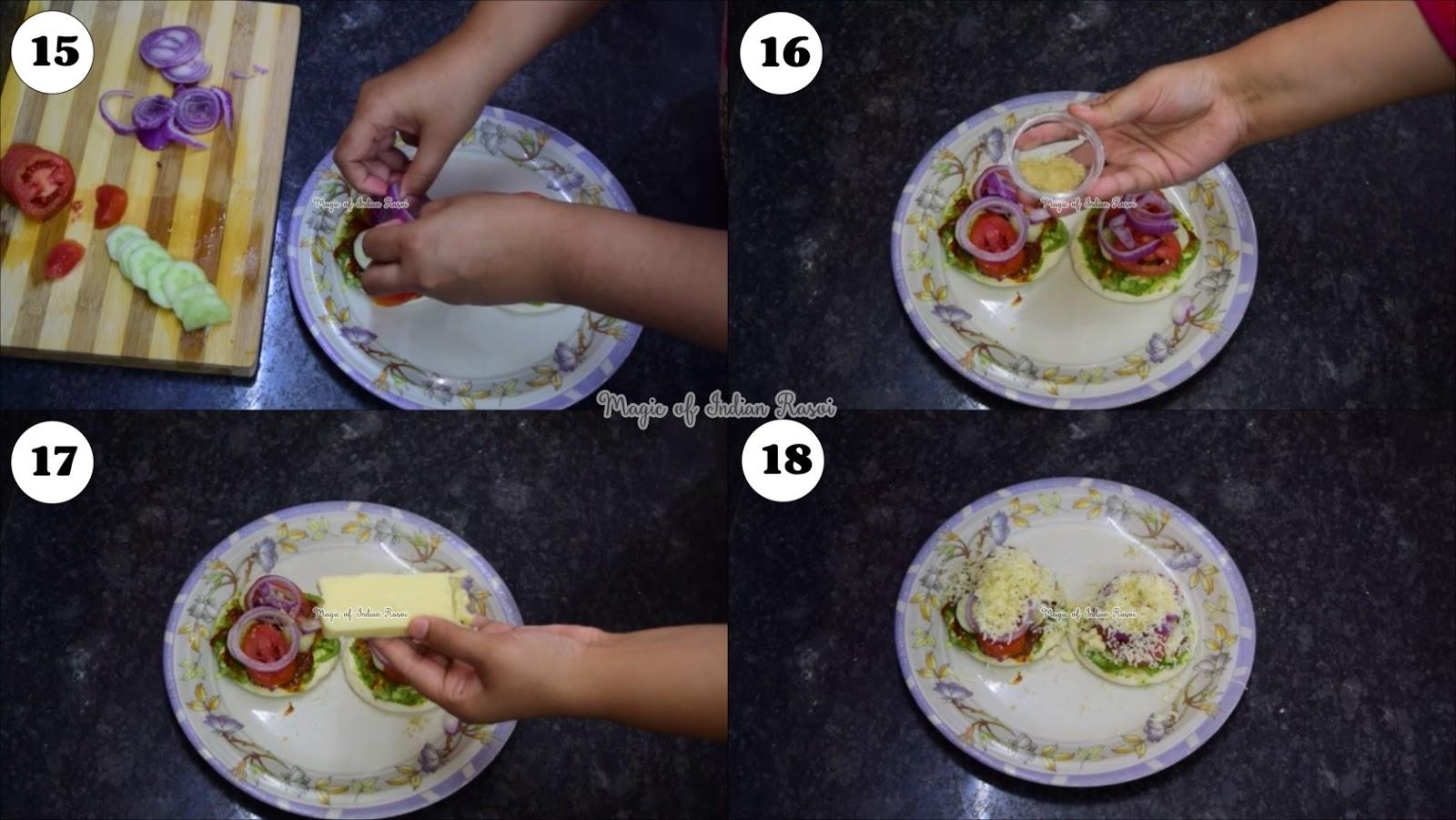 Masala Sandwich Pizza Recipe - मसाला सैंडविच पिज़्ज़ा रेसिपी - Priya R - Magic of Indian Rasoi