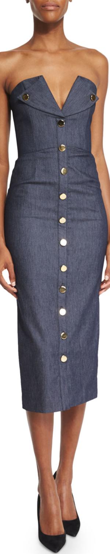 Cushnie et Ochs Strapless Bustier Denim Tuxedo Dress, Indigo