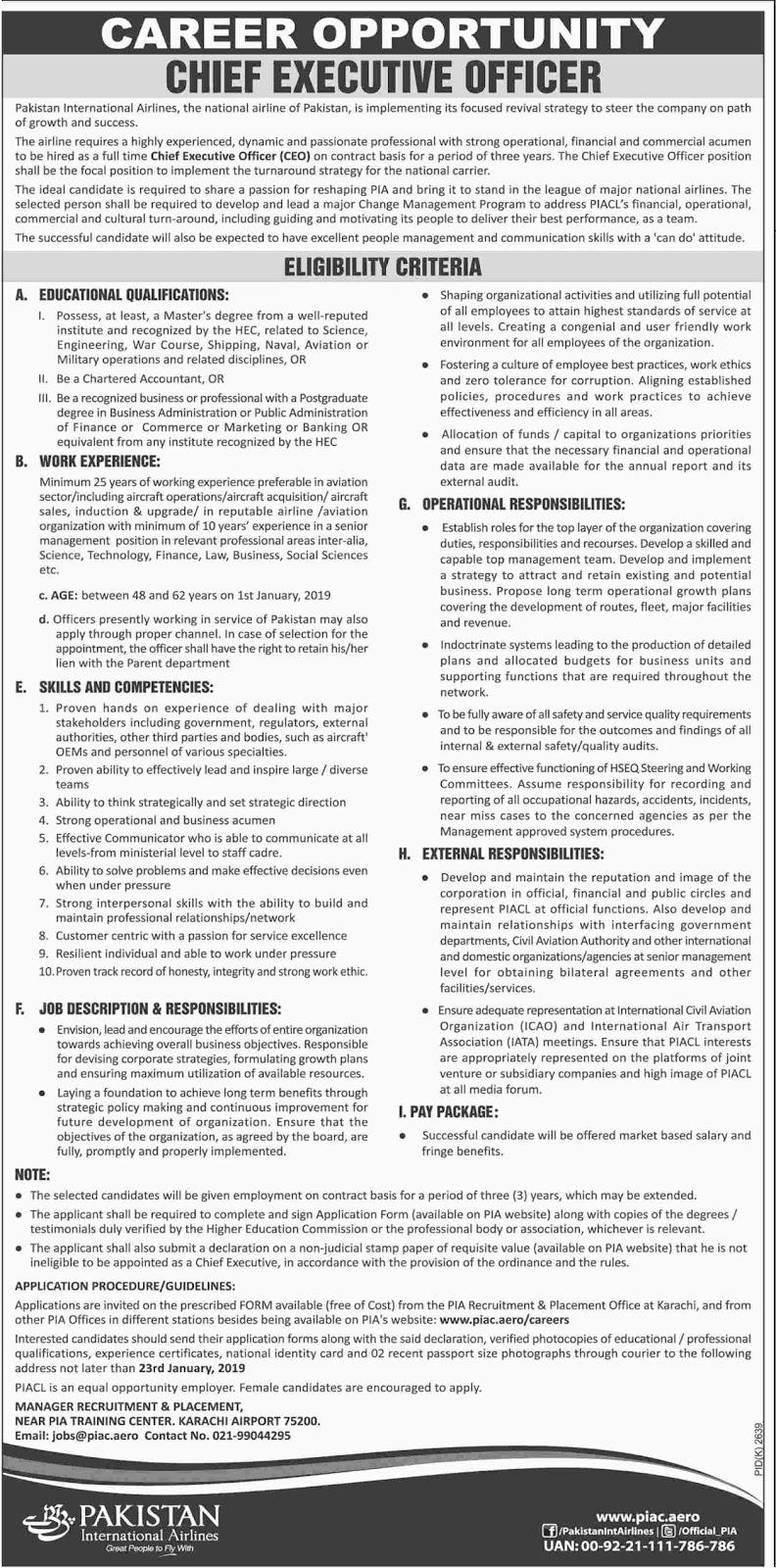 Jobs Vacancies In Pakistan International Airlines PIA 08 January 2019