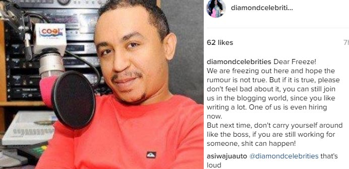 Blogger offers Daddy Freeze job opportunity following his Cool FM sack