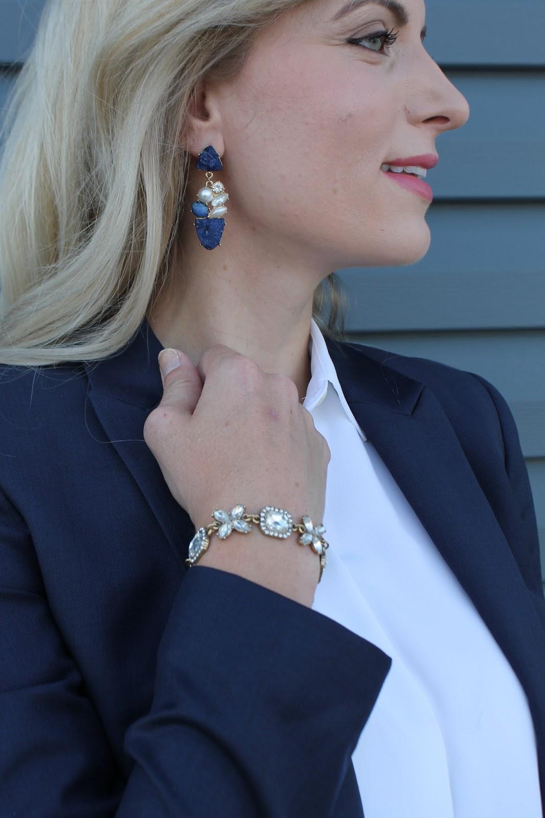 blue druzy statement earrings