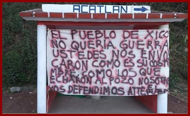 """""""Ustedes nos emboscaron como es su costumbre"""", HUACHICOLEROS cuelgan narcomanta contra SEMAR en Puebla."""