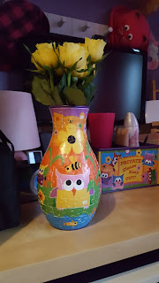 Yellow Roses in a Ravensburger Funky Owls girls 3D Puzzle Vase