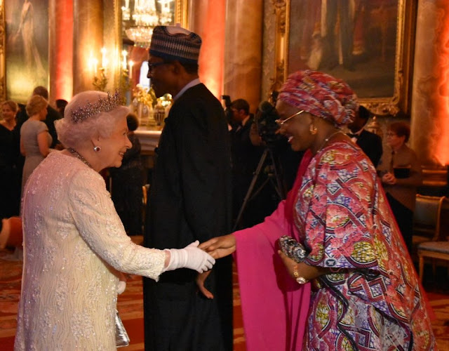President Buhari and his wife aisha having dinner with the queen