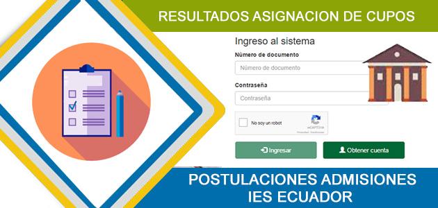 Resultados Consultar Asignación de Cupos Universidades e institutos públicos en el Ecuador 2017 SNNA