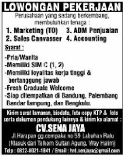 Kesempatan Bekerja di CV. Sena Jaya Bandar Lampung Terbaru Maret 2018