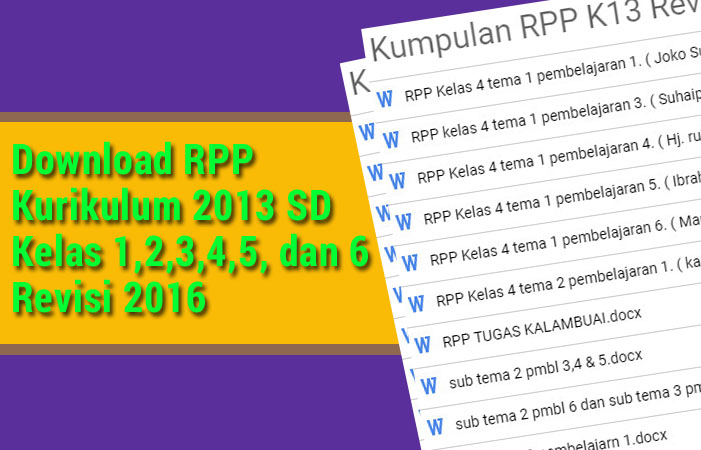 Download RPP Kurikulum 2013 SD