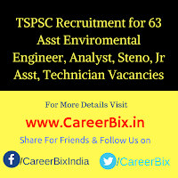 TSPSC Recruitment for 63 Asst Enviromental Engineer, Analyst, Steno, Jr Asst, Technician Vacancies